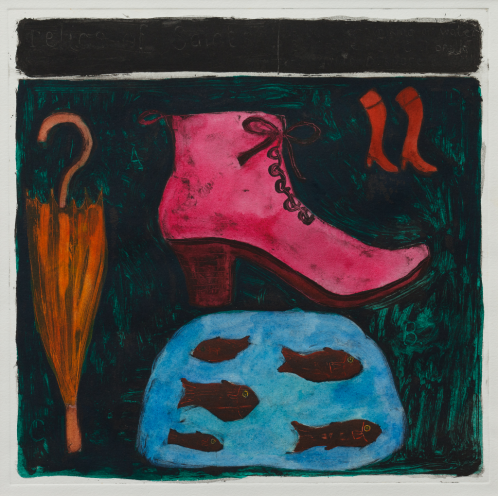 An artwork by Sara Trillo entitled 'Relics of Saints'.  It depicts a bright pink boot, orange unbreall, red boots and red fish in a bluue pond all arranged over a dark green background with a black stripe across the top.
